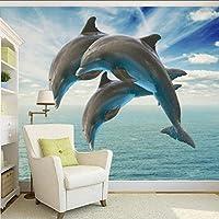 Wuyyii 写真の壁紙Hd 3Dステレオ裸イルカジャンプテレビの背景装飾画カスタム壁紙ロビー壁画-400X280Cm