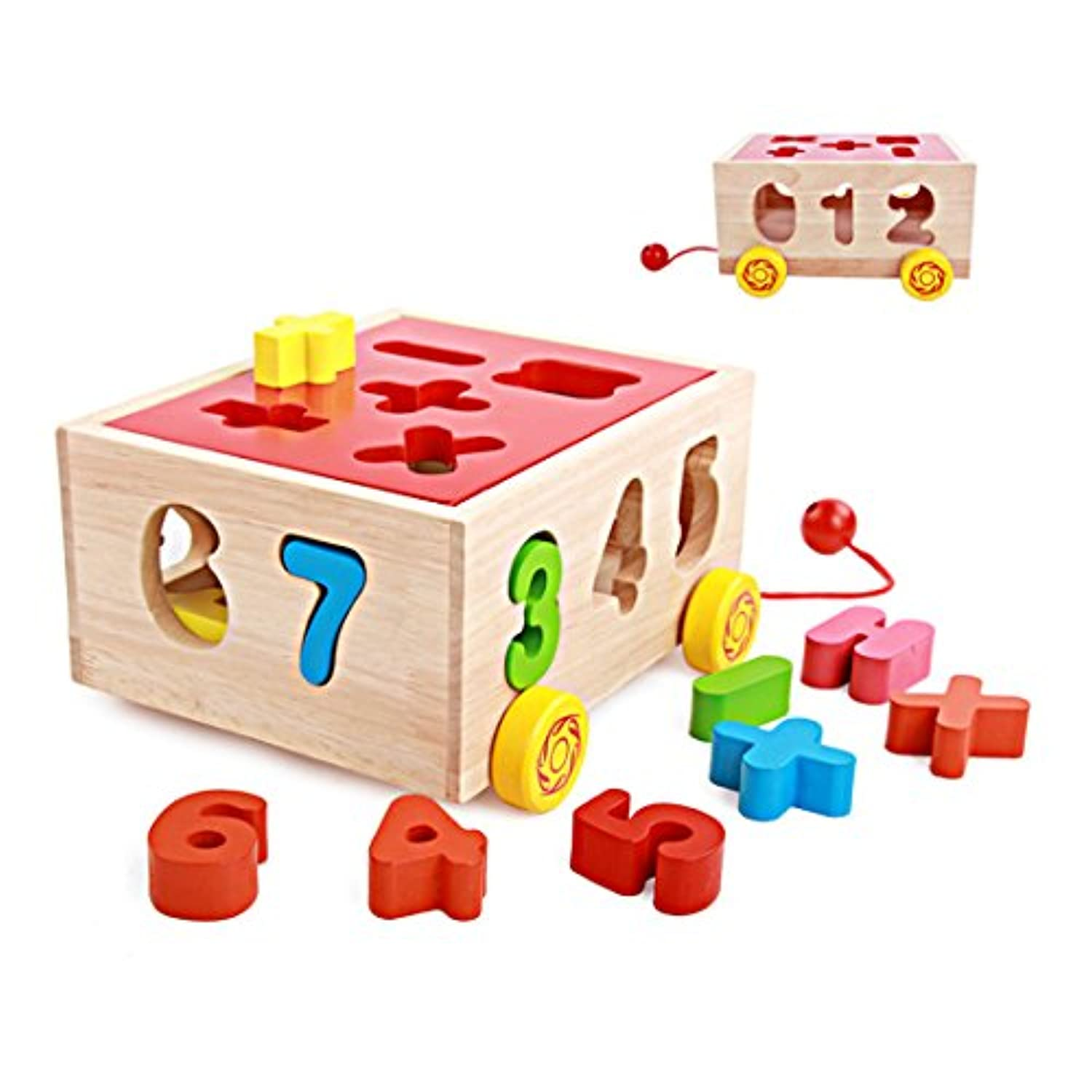 SMATTER Wooden Shape Sorting Box Cart, 14 Hole Cube For Shape Sorter Cognitive And Matching Wooden Toys