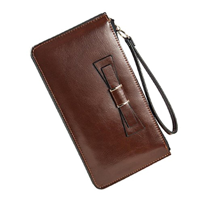 mioim ロングウォレット 女性の財布 長財布 二つ折り ファスナー開閉式 ちょう結び 可愛い ファッション ハンドストラップ 盗難防止 携带便利 大容量 スマホも収納OK 実用的な財布
