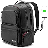 tomtoc Business Laptop Backpack, TSA Friendly Travel Computer Backpack with USB Charging Port (PowerPortal) & BottomArmor Patent, Anti-Theft College School Bookbag Fits 13-15.6 inch Laptop, 30L