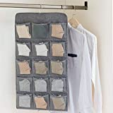 ウォールポケット 吊り下げ収納 壁掛け クローゼット 綿の麻 下着 靴下 衣類 小物 両面収納 省スペース ウォールラック 20p 5段(グレー)