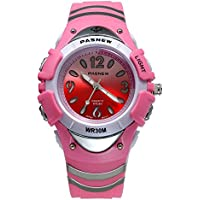 7 Colors Flashing Kid Rubber Watch, 30M Water Resistant, Chronograph Stopwatch Sport Watch (Pink)