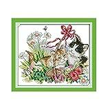 Anself DIY クロスステッチ 刺繍キット 精密プリント 可愛らしい猫のパターン設計 38 * 34cm ホームの装飾