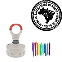 Made In Brazil Round Badge Style Pre-Inked Stamp, Yellow Ink Included