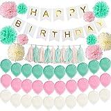誕生日 飾り付け HAPPY BIRTHDAY ハッピーバースデー ガーランド 風船 ペーパーフラワー セット (マカロンカラー)