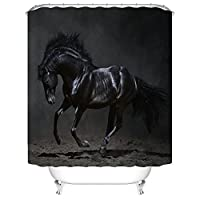 シャワーカーテン インテリア カーテン 装飾 黒い馬 バスカーテン 防カビ おしゃれ 幅150×丈180cm