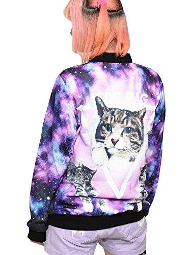 (エーシーディーシーラグ) ACDCRAG アンジ ブルゾン 猫 猫柄 ネコ柄 ねこ柄 宇宙柄 宇宙 ブルゾン ジャケット グッズ 服 原宿系 ファッション メンズ レディース ユニ サブカル ゆめかわいい かわいい