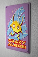 Tin Sign ブリキ看板 Nostalgic Motif FeliX Crazy aliens