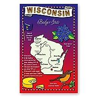 Wisconsin Stateマップポストカードのセット20identicalはがき。Post Cards with Wiマップと状態シンボル。Made In USA。