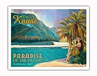 エキゾチックなカウアイ島、ハワイ - 太平洋のパラダイス - ハナレイベイ - ビンテージなハワイの旅行のポスター によって作成された リック・シャープ - アートポスター - 28cm x 36cm