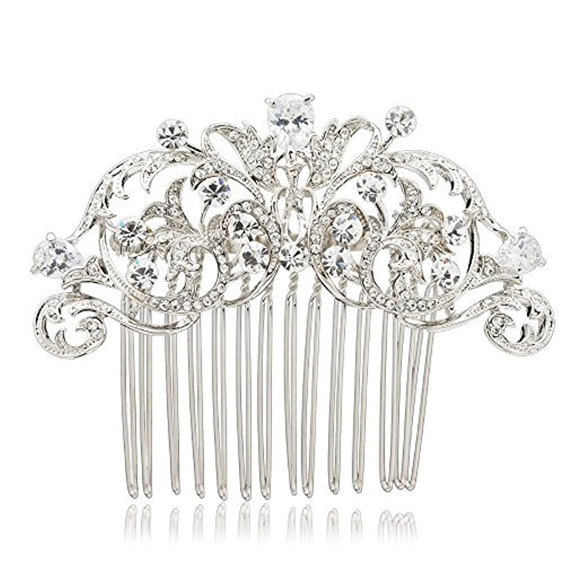 最愛のにぎやか急勾配のSEPBRIDALS Crystal Rhinestone Hair Side Comb Pins Bridal Wedding Women Hair Accessories Jewelry 2253R [並行輸入品]