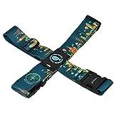 クロース(Kroeus)スーツケースベルト ワンタッチ 簡単装着 十字 固定ベルト トランクベルト 旅行 出張 ハネムーン 調整可能 ネームタグ付 紛失防止 6色