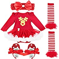 FEESHOW Baby Girls' My First Christmas Tutu Outfit Dress Leg Warmer Shoes Headband