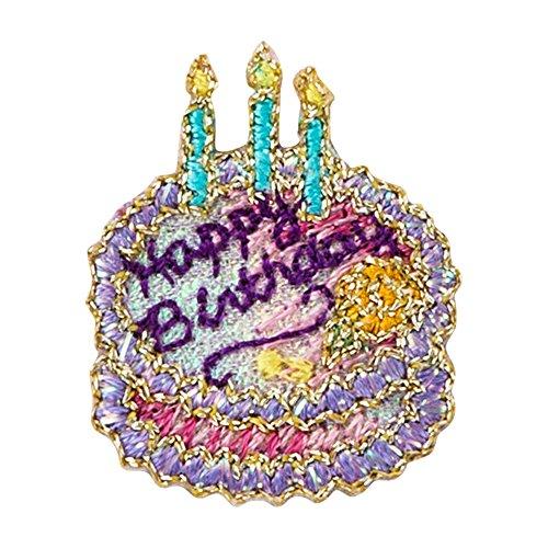ミノダ ラメポップ刺繍アイロンワッペン ケーキ バースディ P50I5199