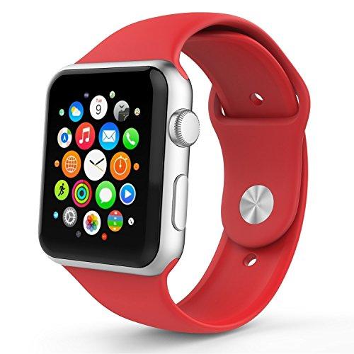 Apple Watch バンド アップルウォッチ BRG Apple watchベルト スポーツバンド ソフト 高級感 シリコーン 製 交換ベルト (38mm, レッド)