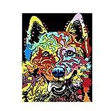 Yyboo 数字によるDiy絵画デジタルキャンバス油絵ギフト大人子供キットホームデコレータ - 犬 (フレームなし)