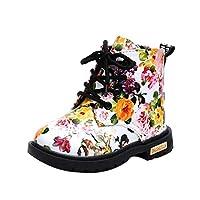 女の子子供用花の靴 暖かい キッズシューズ ベビーマーティンブーツカジュアルな子供のブーツ OVERMAL (21, 白いもの)