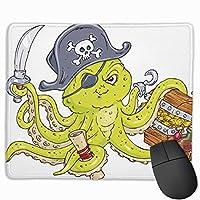 マウスパッド 海賊 タコ 宝蔵 グレー ゲーミング オフィス最適 おしゃれ 疲労低減 滑り止めゴム底 耐久性が良い 防水 かわいい PC MacBook Pro/DELL/HP/SAMSUNGなどに 光学式対応 高級感プレゼント plesamncgb
