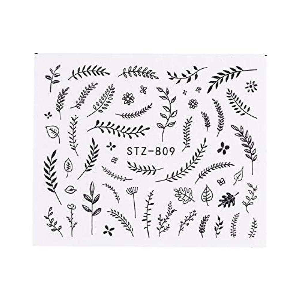 無能王族甲虫SUKTI&XIAO ネイルステッカー 1ピースネイルステッカー黒葉花デカール水転写ステッカーネイルアートスライダー用マニキュア装飾