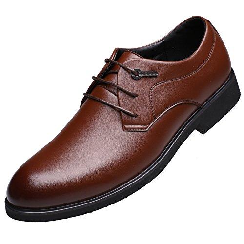 おずこ(OZUKO)メンズ ビジネス シューズ マイクロファイバー革 レースアップ 外羽根 結婚式 ドレスシューズ 紳士靴 通気革靴 (27.0 cm, ブラウン)
