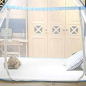 Dewel 蚊帳(かや) 虫除け 蚊よけ 密度が高い 1ドアタイプ 持ち運べる 収納便利 ワンタッチ・折りたたみ式・底付き 選べる2色 (シングル 100*200*100cm, ブルー)