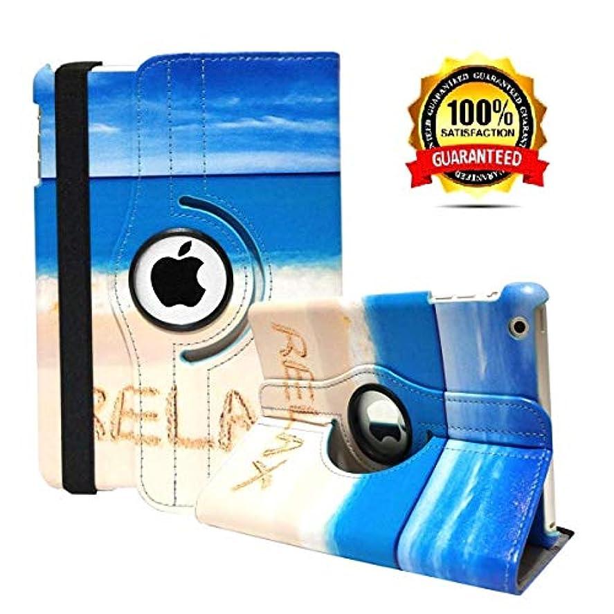表面気体のアルミニウムiPad mini 1ケース、iPad mini 2 ケース、iPad mini 3 ケース、 PUレザー、360度回転スタンド スマートカバーケース 自動スリープ/ウェイク機能付き Apple iPad Mini 1 / iPad Mini 2 / iPad Mini 3用 (砂浜)