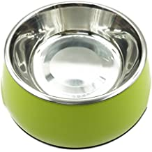 High Quality Non-Slip Melamin Stainless Steel Bowls for Dogs Cats Removable Food Water Dishes Puppy Drinking Feeder (Light Green)