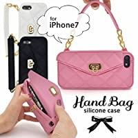 新品 アイフォン7用カバーハンドバッグ型シリコンケース☆F★ブラック