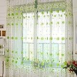 【ノーブランド品】高品質 ドアカーテン  カーテン 装飾 窓 部屋 ボイルカーテン 子供  寝室  200x100cm デイジー (グリーン)