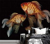 Ljjlm カスタマイズされた大壁画ヨーロッパスタイルの手描きの3D金魚の油絵の背景の壁の装飾画-350X230Cm