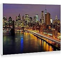 ニューヨーク、夜、住宅、高層ビル、ライト、川、橋 - 壁の絵 壁掛け ソファの背景絵画 壁アート写真の装飾画の壁画 - (40cmx30cm)