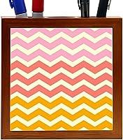 Rikki Knight Chunky Chevron Mustard Yellow Coral Pink Chevron Design 5-Inch Tile Wooden Tile Pen Holder (RK-PH44724) [並行輸入品]