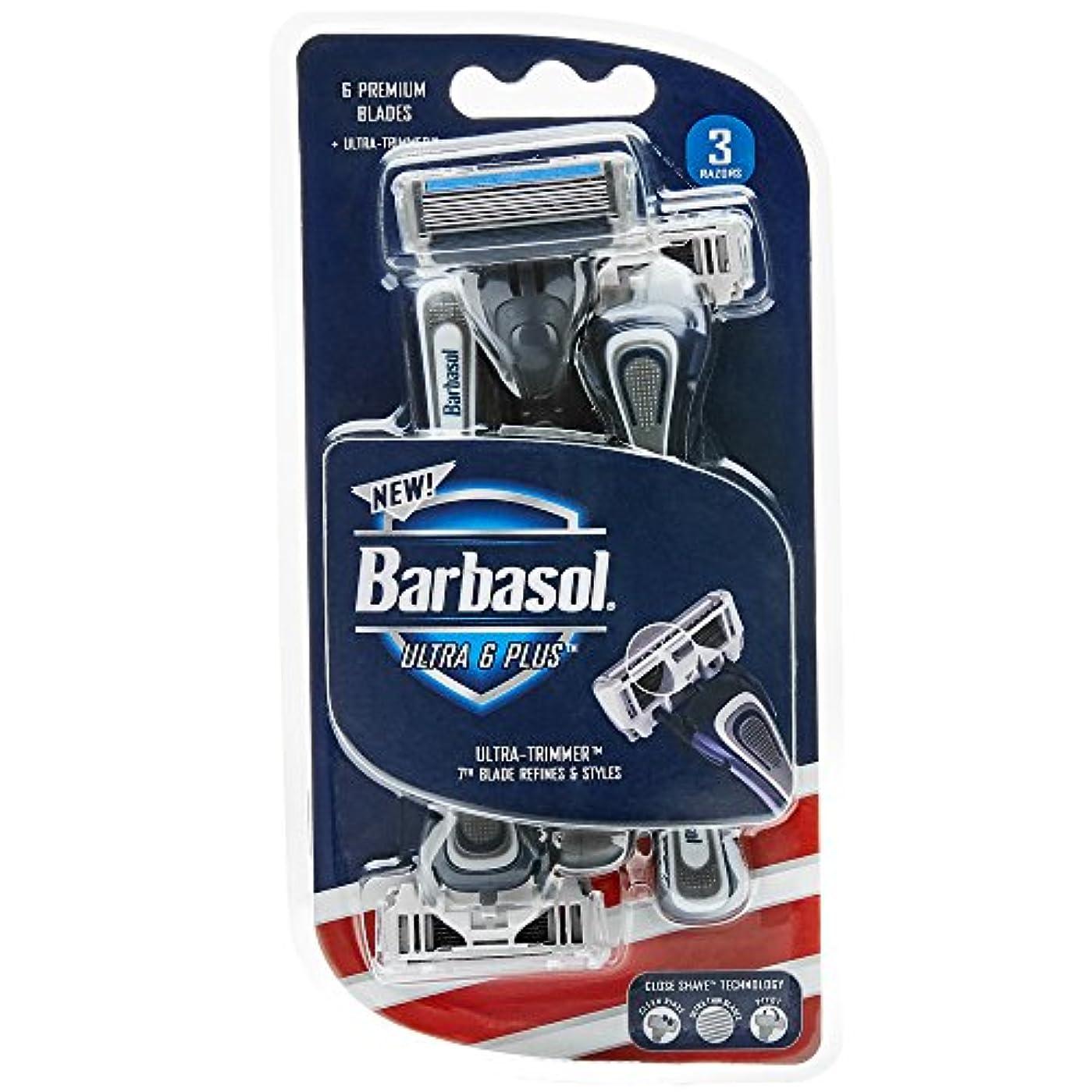 同行する冷蔵するルールBarbasol ウルトラ6プラスプレミアム使い捨てカミソリ、3カウント