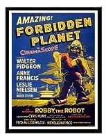 禁じられた惑星古典的な映画プリント磁気メモボード黒額入り - 41 x 31 cm(約16 x 12インチ)