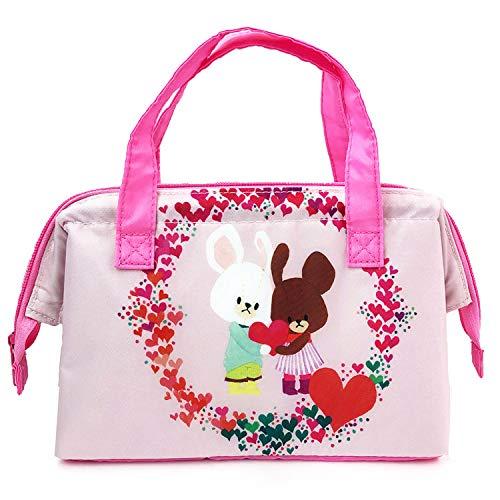 スクエア くまのがっこう 保冷バッグ ワイヤー入り ピンク ...