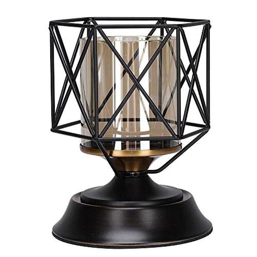グレートオーク推定枢機卿アイアンローソク足、1ピーススタイリッシュな幾何学的アイアンローソク足飾りレトロキャンドルホルダーテーブルの装飾ギフト