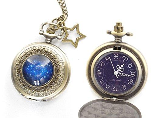 [リトルマジック]日本メーカー製クオーツ 星座文字盤 懐中時計 6点セット スタースカイ LM1256