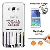 c01202 - Make Up Quote I would Cry But My Mascara Designer Quote Design Samsung Galaxy J3 SM-J320F 0.3 MM レザー手帳型ケース ダイアリー カード 収納 ポケット スロット スタンド 財布型