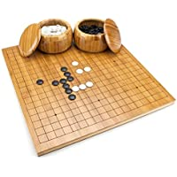 Reversible Bamboo Go Set with Board, Bowls, Bakelite Stones, and Bonus Xiangqi Chinese Chess Layout by Brybelly [並行輸入品]