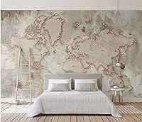 Bzbhart 壁画壁紙3Dレトロな世界地図壁の絵リビングルームの研究長老の寝室の背景壁デコ-450cmx300cm