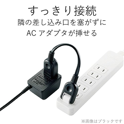 エレコム 電源タップ 電源延長コード 2P式/1個口/0.1m/3本パック ホワイト T-ADR1WHX3