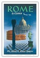クリッパーによってローマ、イタリア - サンピエトロ大聖堂ティベリウス - パンアメリカン航空 - ビンテージな航空会社のポスター c.1951 - アートポスター - 31cm x 46cm