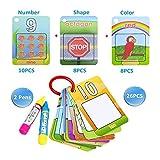 Coolplay おえかき 知育 英語 カード カラフル多種類 水塗り絵 人・動物・植物・マーク・物件 英語教育 数字認識 26枚 子供 繰り返し使い