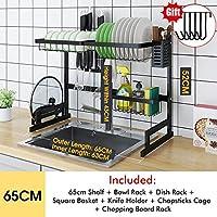 耐久性 シンクの排水が経つにつれて乾燥棚ステンレス製のキッチンシェルフオーガナイザー料理はキッチンストレージカウンター用品ホルダーラック 簡単インストール (Color : Black 65CM)