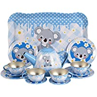 BohsコアラTinplate Tea Set Pretend Play、15個