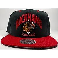 Chicago Blackhawks Mitchell & Ness Grand Arch Snapback Hatブラックレッド