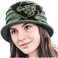 HISSHE Lady 100% Wool Floral Bucket Cloche Bowler Hat Felt Dress Hat XC020