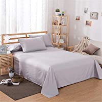生活寝具シートホームテキスタイル印刷ソリッドカラーフラットシートコームコットンベッドシート寝具リネンキングクイーンサイズピンク250 * 230 (Color : Silver, Size : 230*230)