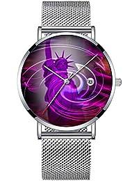 ミニマリストファッションクォーツ腕時計エリート超薄型防水スポーツ時計メッシュバンドと日付 255.ニューヨーク自由の女神像の物語