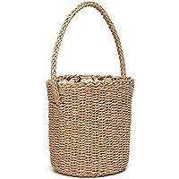 QIN かごバッグ ガラ編み 編みバッグ バスケットストローバッグ レディース おしゃれ 大人可愛い ハンドバッグ ショルダーバッグ